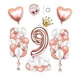 Luftballon 9. Geburtstag Rosegold, Geburtstagsdeko Mädchen 9 Jahr, Happy Birthday Folienballon mit Krone, Deko 9 Geburtstag Mädchen, Riesen Folienballon Zahl 9, Ballon 7 Deko zum Geburtstag