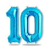 FUNXGO Folienballon Zahl in Blau - Riesenzahl Ballons ca.100cm - Folienballons für Luft oder Helium als Geburtstag, Hochzeit , Jubiläum oder Abschluss Geschenk, Party Dekoration (Blau [ 10 ])