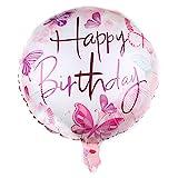 DIWULI, Geburtstags Luftballon Happy Birthday, Folien-Luftballon, edler Geburtstagsballon, rosa weißer Folien-Ballon für Geburtstag, Mädchen Kindergeburtstag, Party, Dekoration, Geschenk-Deko, DIY