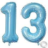Luftballons Zahl 13, Nummer 13 Luftballon Hellblau Jungen männer Luftballons 13. Geburtstag Folienballon, Zahl 13 Nummer 13 Ballons Große 40 Zoll Riese Heliumfolie Ballon Zahl-Ballons 13 Folienballon