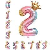 40 Zoll 0 - 9 XXL Regenbogen Zahlen Folien Luftballon, 100 cm Riesenzahl 2. Jahr Geburtstagsdeko Helium Ballon, Rosa Folienballon für Junge Mädchen Geburtstag, Hochzeit, Jubiläum Party Dekoration