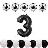 Xidmold 14 Stücke Kinder Geburtstag Party Dekoration Fussballfans Fußball Luftballons Fussball Geburtstagsdeko Riesen Folienballon Zahl Helium Zahlenballon Latexballons Birthday Balloons (Zahl 3)