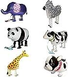 Tier Folienballon Haustier Ballons Air Walker Ballons für Kinder Geburtstag Party Dekoration Spielzeug Geschenk 6 Stück Bulldogge Giraffe Zebra Elefant Panda Kuh