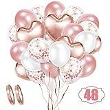 Crislove Rosegold Luftballon Set, 48 Stück Folienballon Set, Konfetti Luftballons & Latex Ballons mit Bändern für Geburtstag, Hochzeit, Babyparty, Dekoration, Geschäftstätigkeit