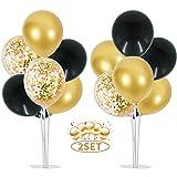 Ballon Stick Halter Ballon Ständer Kit Luftballons Halter Zubehör 16 Stück Schwarz Gold Konfetti Luftballons Ballonständer Tisch Ballonbaum für Geburtstag Babyparty Hochzeit Party Korationen(2 Sätze)