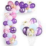 GAGAKU 168 Stück Luftballons Meerjungfrau Einhorn Geburtstagsdeko Kindergeburtstag für Mädchen Latex Ballons Bunt Konfetti Rosa Lila für Babyparty Hochzeit