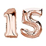 DekoRex Folienballon Rosegold 100cm Luftballon Geburtstag Feier Hochzeit (Zahl: 15)