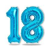 Folienballon Zahl in Blau - XXL 40'/100cm Riesenzahl 100cm Ballon - Folienballons für Luft oder Helium als Geburtstag, Hochzeit , Jubiläum oder Abschluss Geschenk, Party Dekoration (Blau [ 18 ])