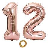 Luftballons Zahl 12, Nummer 12 Luftballon Rosegold Mädchen Luftballons 12. Geburtstag Folienballon, Zahl 12 Rose Gold Nummer 12 Ballons Große 32 Zoll Riese Heliumfolie Ballon