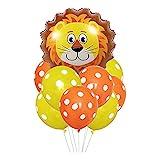 ballonfritz® Tiere Safari Dschungel Ballon 11 tlg. Set - XXL Löwe Kopf Luftballon 55x55x20cm als Geburtstagsgeschenk, Party-Deko oder Überraschung den Kindergeburtstag