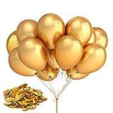 Luftballons Metallic Gold Latex Ballon 50 Stück Luftballons Hochzeit Helium Luftballons Luftballons Geburtstag für Babyparty Valentinstag Deko Abschlussfeier Silvester Party Dekoration 10 Zoll