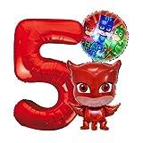 PJ Masks Eulette Geburtstags Deko Set, Zahl 5 Folienballon Luftballon Ballon Pyjamahelden Eulete Rote PJ Mask Kinder Dekoration jungen und Mädchen (Zahl 5)