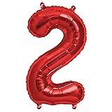 FUNXGO Folienballon Zahl in Rot- Riesenzahl ca.100cm Ballon - Folienballons für Luft oder Helium als Geburtstag, Hochzeit , Jubiläum oder Abschluss Geschenk, Party Dekoration (Rot [ 2 ])