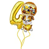 Rubble Geburtstags Set Folienballon Luftballon Paw Patrol Team Hunde 4 Zahl Hund Kindergeburtstag Deko Dekoration Mottoparty Party Ballon (Zahl 4)