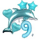 Delfin Blau Junge Folienballon 9.Geburtstag Junge Blau Delfin Luftballon Set XL Zahlen Ballon Zahl 9 Folienballon Meerestier Luftballons Numbers 9 Foil Balloon 9 Jahre Junge Sternfolie Luftballon
