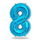 FUNXGO® Folienballon Zahl in Blau - L /ca.100cm Riesenzahl Ballon - Folienballons für Luft oder Helium als Geburtstag, Hochzeit , Jubiläum oder Abschluss Geschenk, Party Dekoration (Blau[8])