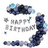 Luftballons Girlande Kits,GRESATEK Blau Schwarz Ballon Arch Kit,Geburtstagsdeko mit Happy Birthday Folienballon Silber Ballon Für Geburtstag Dekorationen Hochzeit Baby Shower Party Supplies