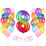 O-Kinee Luftballon 8. Geburtstag Bunte, Geburtstagsdeko 8 Jahr, Happy Birthday Folienballon 8, Deko 8 Geburtstag, Riesen Folienballon Zahl 8, Ballon 8 Deko zum Geburtstag Mädchen Jungen