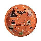 Dasongff Halloween Tableware Set Mustern Pappteller für Halloween-Partys, Halloween- Papiergeschirrset Geschirrset, Halloween-Partyzubehör Geschirr und Deko-Set 10 Pappteller