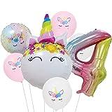 DIWULI, Ballon-Set, XL Zahlen-Ballon, Zahl 4, Einhorn-Ballon, Latex-Ballon, Latex-Luftballon 4. Kinder-Geburtstag Mädchen, Motto-Party, Dekoration, Folien-Ballon, Folien-Luftballon, Zahlenluftballon