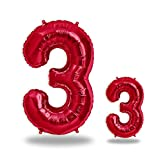 """FUNXGO® Folienballon Zahl in Rot 2 Stück – 40"""" + 16""""- Riesenzahl und kleine Ballons Folienballons für Luft und Helium als Geburtstag, Hochzeit , Jubiläum oder Fest , Party Dekoration (Rot[ 3 ])"""