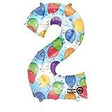 Amscan 2824701 - Folienballon Zahl, Ballons und Luftschlangen, für Helium oder Luft, Heliumballon, Geburtstag, Jubiläum