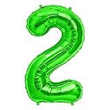 FUNXGO Folienballon Zahl in Grün - XXL / ca.100cm Riesenzahl Ballons - Folienballons für Luft oder Helium als Geburtstag, Hochzeit , Jubiläum oder Abschluss Geschenk, Party Dekoration (Grün [2])