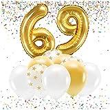 Feste Feiern Party-Deko zum 69. Geburtstag Gold Metallic Zahl 69 Set 86cm Zahlenballon Luftballon Folienballon 69ter Goldene Sterne weiß Glanz 21 Teile Dekoration Happy Birthday Jubiläum