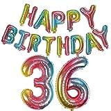 Happy Birthday banner Regenbogen+luftballons zahlen Regenbogen 36 mädchen frauen,36.geburtstagsdeko frauen mädchen 36 jahre,Girlande Geburtstag folienballon 36 groß Regenbogen Zahlenballon 36