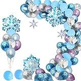 Schneeflocke Luftballons Garland Arch Kit Blau & Weiß & Silber& violett 99er Pack Schneeflocke Ballons für Winter Wonderland, Urlaub, Weihnachten, Baby Shower, Frozen Birthday Party Dekorationen