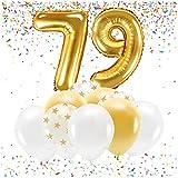 Feste Feiern Party-Deko zum 79. Geburtstag Gold Metallic Zahl 79 Set 86cm Zahlenballon Luftballon Folienballon 79ter Goldene Sterne weiß Glanz 21 Teile Dekoration Happy Birthday Jubiläum