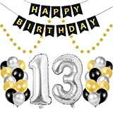 Geburtstagsdeko 13 Geburtstag Deko, 13. Geburtstag Männer Frauen, Deko Zahlen 13 Jahre Luftballons Silber folienluftballon und 24 Perle Ballons Schwarzes Gold Silber mit 1 Happy Birthday Banner