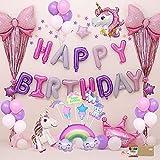 Einhorn Deko Party Geburtstagsdeko Luftballons Party Kindergeburtstag Happy Birthday Dekoration luftballon für Mädchen Frauen Geburtstag Party Zubehör