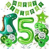 Sunshine smile Dino Luftballons Geburtstag 5 Jahr, Luftballons Dinosaurier Kit, Dschungel Geburtstag Party Deko, Riesen Folienballon Tiere,Safari Geburtstag Deko,Kindergeburtstag Dekorationen