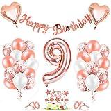 Luftballon 9, Geburtstagsdeko 9 Jahr Mädchen, 9 Geburtstag Mädchen Rosegold, Luftballons 9Geburtstag Deko, Happy Birthday Girlande Folienballon Zahl 9 Rose Gold, Zahlenballon 9 Ballon für Frauen