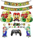 smileh Deko Geburtstag Super Mario Luftballons Alles Gute zum Geburtstag Girlande Kuchen Topper für Kinder Geburtstags Party Decoration