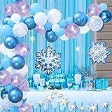 Yiran Frozen Party Geburtstag Deko, Blau Party Deko Ballongirlande mit Hell Lila Luftballon, Hellblaue Luftballon, Luftballon Weiß, Folienballon, Deko Schneeflocken Banner für Frozen Geburtstagsparty