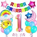 Luftballon 1. Geburtstag Rosa, Geburtstagsdeko Mädchen 1 Jahr, Deko 1 Geburtstag Mädchen, Riesen Folienballon Zahl 1, Ballon 1 Deko zum Geburtstag, Stern Wolken Regenbogen Ballon
