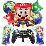 Ballon XXL Folienballon Luftballon Super Mario Mario Bros Folienballon Brüder Geburtstag Dekoration Kindergeburtstag Deko Happy Birthday Deko-Luftballon Balloons Set 9pcs