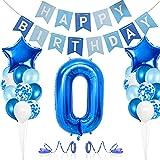 Luftballon 0. Geburtstag Blau,Deko 0 Geburtstag Junge, Riesen Folienballon Zahl 0,Banner, Happy Birthday Folienballon,Nummerndekoration,Riesen Folienballon,Deko 0 Geburtstag Junge Mädchen