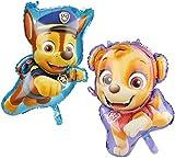 com-four 2X XXL Folien-Ballon mit Motiven von Chase und Skye aus Paw Patrol - Großer Folienballon als Deko für Kinder-Geburtstage und Partys