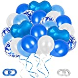 GRESAHOM Blau Luftballon Set, 66 Stück 12 Zoll Ballons Set, Blau Konfetti Ballons & Blau Herz Glitter Folienballon & Blau Weiß Helium Luftballons mit Bändern für Party Dekoration Hochzeit Geburtstag