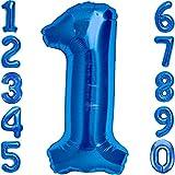 Luftballon 1. Geburtstag Zahl 1 Blau XXL Riesen Folienballon 100cm Geburtstagsdeko Jungen Ballon Zahl Deko zum Geburtstag. Fliegt mit Helium.