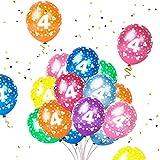 Humairc 16 Luftballon 4. Geburtstag bunte Luftballon mit Zahlen 4 für Kindergeburtstag Deko Jungen Mädchen unterstürtzt Luft Helium
