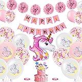 SunAurora Einhorn Geburtstagsdeko Set, Happy Birthday Banner Einhorn Folienballon Rosa Papier Pom Poms Latex Konfetti Luftballons für Hochzeit Frauen Kinder Baby Mädchen Party