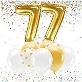 Feste Feiern Party-Deko zum 77. Geburtstag Gold Metallic Zahl 77 Set 86cm Zahlenballon Luftballon Folienballon 77ter Goldene Sterne weiß Glanz 21 Teile Schnapszahl Dekoration Happy Birthday Jubiläum