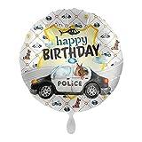 1 Folienballon Geburtstag Polizei bunt Satin ca 43 cm ungefüllt Ballongas geeignet