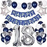 onehous 18. Geburtstag Dekoration, Mann Marineblau Silber Geburtstagsdeko Bedruckte Silber Konfetti Luftballons Number Folienballon Zahl 18. Luftballons Party Deko für Junge Mann