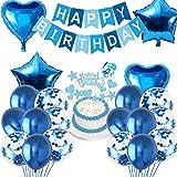 Blau Geburtstagsdeko Set, Geburtstagsdeko Blau für Jungen, Herz Stern Folienballon, Metallic Ballons, Konfetti Luftballons, mit Happy Birthday Banner, für Mädchen Festival Partys Dekoration Zubehör