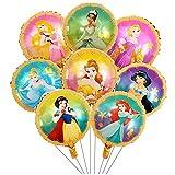 Prinzessin Ballon, 16Pcs Folienballon Set, Geburtstagsdekoration, Folienballon Prinzessin für Partys, Geburtstage, Dekorationen für Mädchen